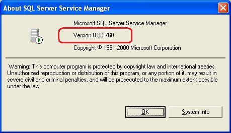 SQL 2000 build: 760