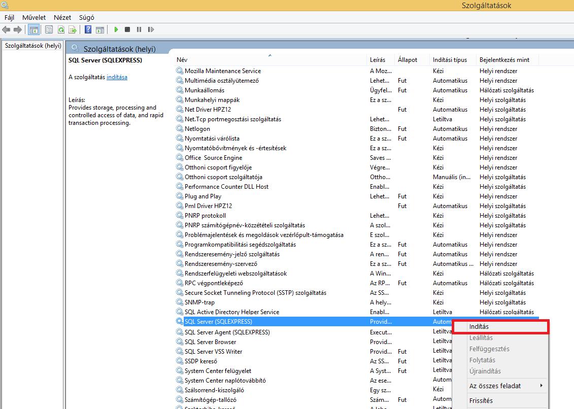 SQL szerver újraindítás