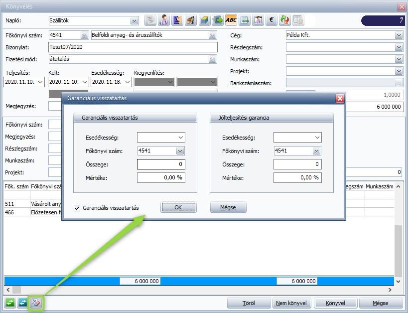Garanciális visszatartás - Könyvelés - Rögzítési ablak