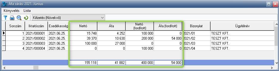 Fordított és egyenes adózású tétel rögzítése egy bizonylaton belül - Áfa zárás