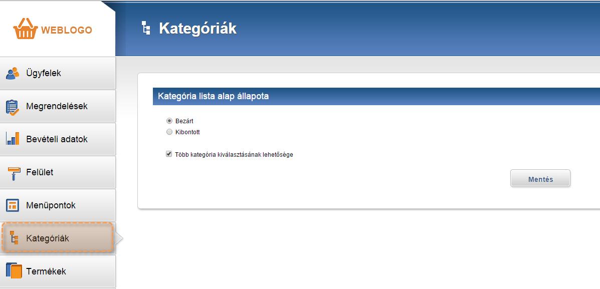 Termék kategóriák megjelenítésére vonatkozó beállítások a webáruház adminisztrációs felületén