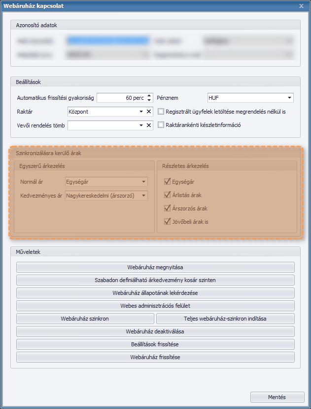 Webáruházban elérhető árak paraméterezése