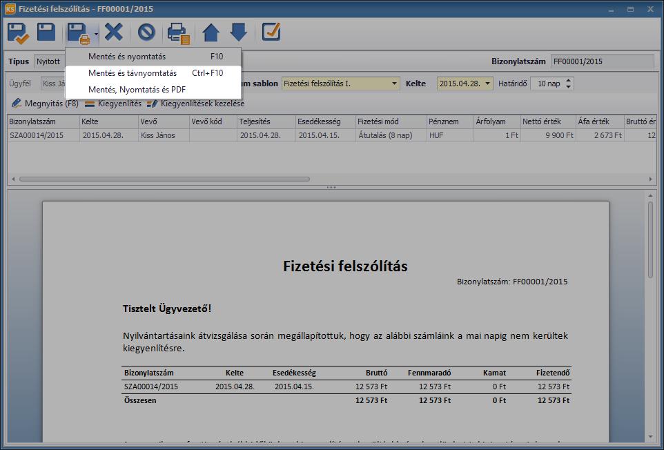 Fizetési felszólítások PDF formátumban és távnyomtatással is