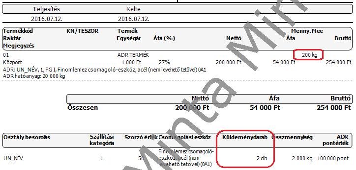 Szállítólevél nyomtatási kép 3