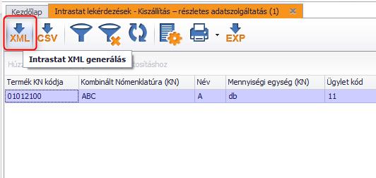 Intrastat XML generálás