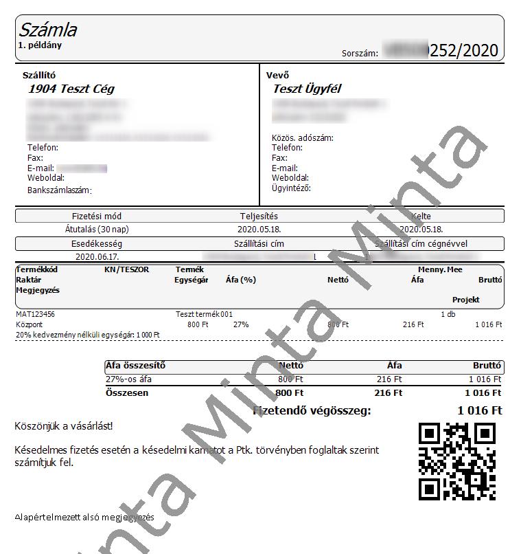 QR kód nyomtatási képen