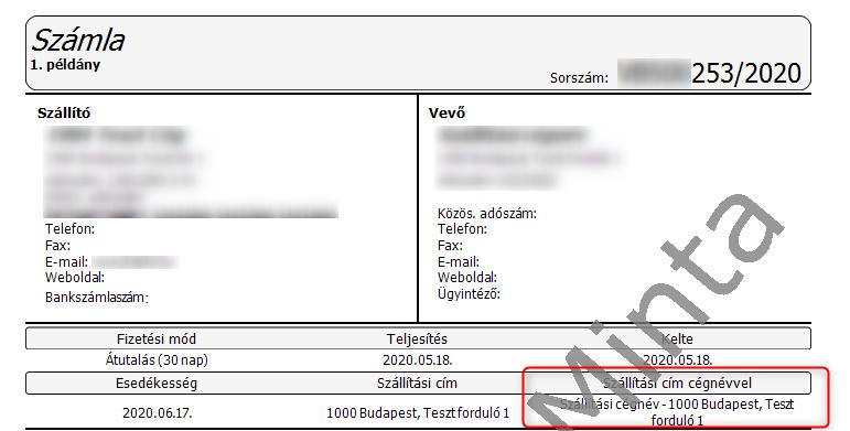 Szállítási cím cégnévvel - nyomtatási kép V2