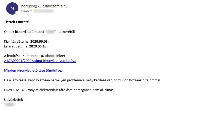 Könyvelői email