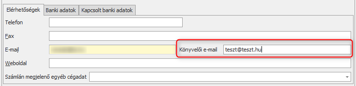 könyvelői email cím megadás