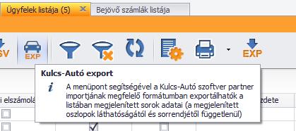 Ügyfél export K-A formátumban